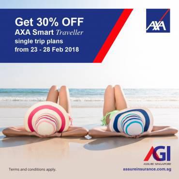 30% OFF AXA Smart Traveller single trip plans from 23 – 28 Feb 2018