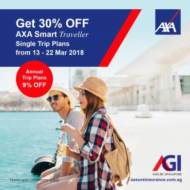 AXA Smart Traveller Promotion from 13 – 22 Mar 2018