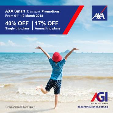 AXA Smart Traveller Promotion from 01 – 12 Mar 2018