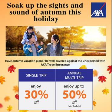 AXA Travel Insurance Promotion from now till 31 Oct 2018