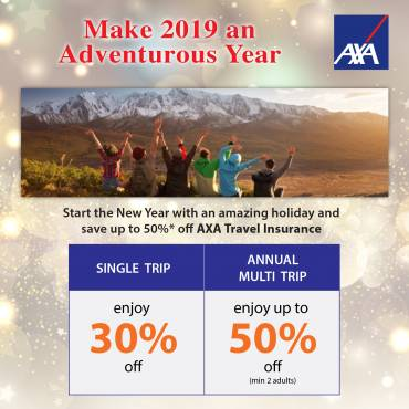 AXA Travel Insurance Promotion from now till 31 Jan 2019