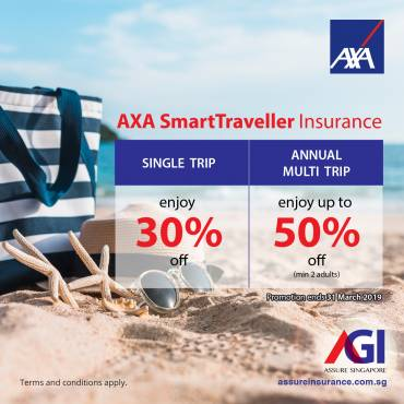 AXA Travel Insurance Promotion from now till 31 March 2019