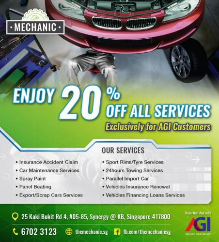 Enjoy 20% OFF all services at The Mechanic.