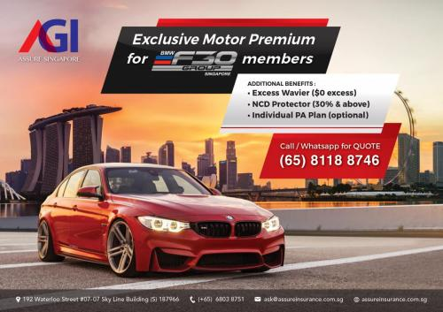 Exclusive Motor Premium for BMW F30 Group Singapore members